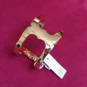 Tory Burch Gemini link wide cuff bracelet NWT GOLD